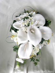 Foam Calla Lily and Silk Tiger Lily with Mini Orchid Teardrop Bouquet