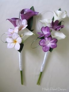 Real Touch Calla Lily and Frangipani Clutch Bouquets (Wands)