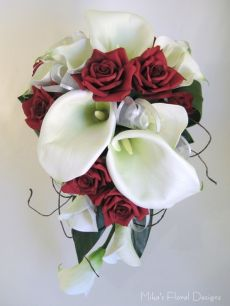Real Touch Calla Lily and Silk Rose Teardrop Bouquet