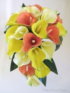 Real Touch Calla Lily Teardrop Bouquet (Tricolours)