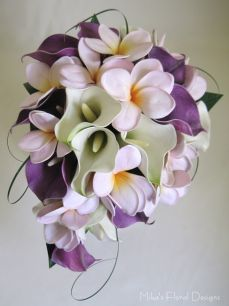 Real Touch Calla Lily and Frangipani Teardrop Bouquet