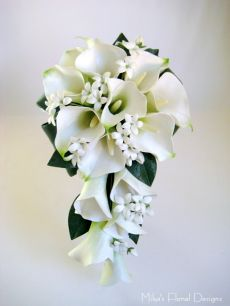 Real Touch Calla Lily and Stephanotis Teardrop Bouquet