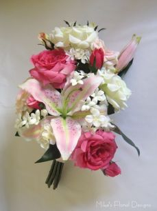 Oriental Lily, Rose, Hydrangea and Stephapnotis Arrangement for Church