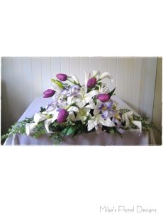 Lily, Tulip, Calla and Orchid Arrangement for Church Fireplace