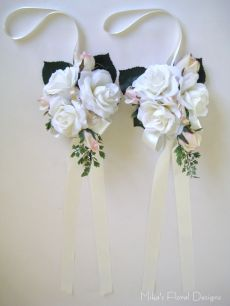 Silk Rose Pew Decorations