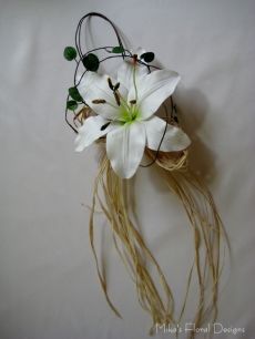 Real Touch Single Lily with Raffia Chair Decoration