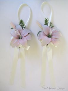 Silk Pink Lily Pew Decorations