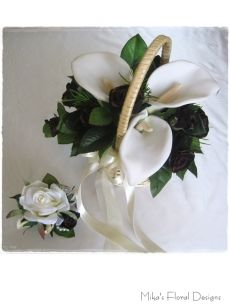 Foam Calla Lily and Silk Rose Basket Arrangement