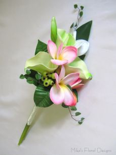 Real Touch Calla Lily and Frangipani Bouquet