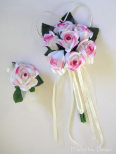 Silk Rose Wand and Wrist Corsage Set for Flower Girl