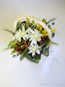 Assorted Australian Native Flowers Basket Arrangement