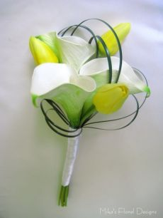 Petite Bouquet of Real Touch Calla Lily and Tulip for Flower Girls