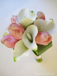 Real Touch Calla Lily and Tulip Round Bouquet for Flower Girl
