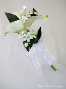 Real Touch Calla Lily and Stephanotis Bouquet for Flower Girl