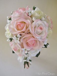 Mini Teardrop Bouquet of Real Touch Rose and Stephanotis