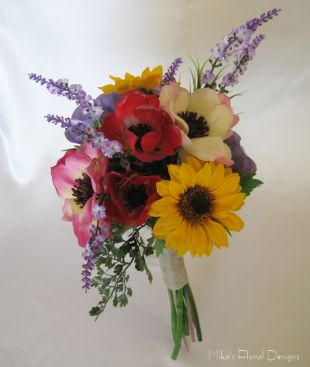 Artificial Sunflower, Anemone, and Lavender Bridal Bouquet