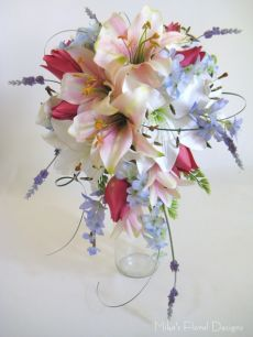 Teardrop Bouquet of Mixed Lilies with Blue Accent