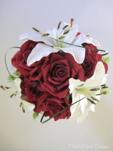 Real Touch Lily and Silk Rose Round Bouquet