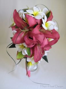 Latex Oriental Lily and Real Touch Frangipani Teardrop Bouquet