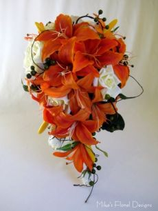 Silk Mixed Tiger Lilies and Rose Trailing Bouquet
