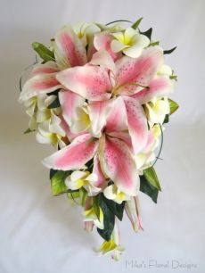 Oriental Lily and Foam Frangipani Teardrop Bouquet