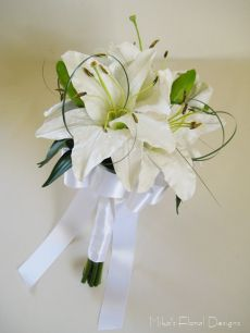Real Touch White Oriental Lily Bridal Round Bouquet