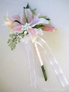 Latex/Real Touch Lily and Stephanotis Arrangement for Bride