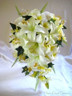 Silk Tiger Lily and Foam Frangipani Teardrop Bouquet