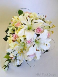 Real Touch Oriental Lily, Tiger Lily and Silk Rose Teardrop Bouquet