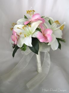 Silk Tiger Lily and Foam Frangipani Round Bouquet