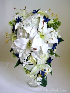 Real Touch Lily, Stephanotis, Silk Rose and Blue Star Flowers Teardrop Bouquet