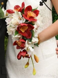 Mixed Cymbidium Orchids Bridal Teardrop Bouquet