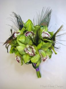 Peacock Feathers in Green Cymbidium Orchid Round Bouquet