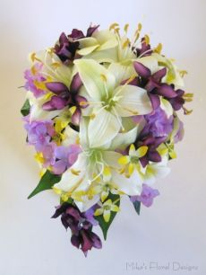 Mini Cymbidium Orchid in Silk Tiger Lily and Mixed Flowers Teardrop bouquet