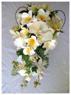 Phalaenopsis Orchid and Foam Frangipani Trailing Bouquet