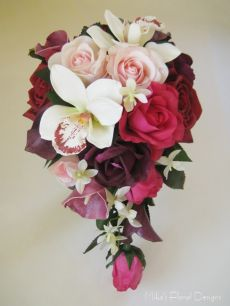 Mixed Orchids in Rose and Calla Lily Teardrop Bouquet