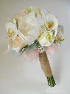 Phalaenopsis Orchid, Rose and Peony Bridal Bouquet with Brooch