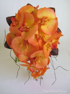 Teardrop Bouquet of Phalaenopsis Orchid with Magnolia Foliage