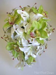 Lime Green Cymbidium Orchid and Lily Teardrop Bouquet