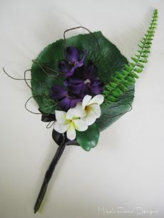 Fan Bouquet of Silk/Artificial Galax, Orchid and Frangipani