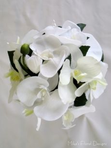 Phalaenopsis and Vanda Orchids Round Bouquet