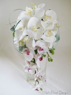 Artificial Mixed Phalaenopsis Orchids Bridal Trailing Bouquet