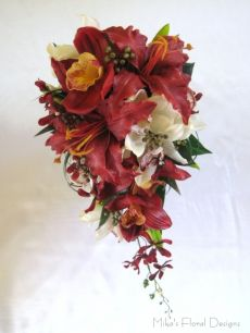 Mixed Cymbidium Orchids and Floramatique Lily Teardrop Bouquet