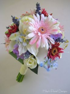 Gerbera and Mixed Flowers Bridal Round Bouquet