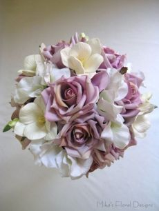 Artificial Freesia, Sweet Pea and Rose Round Bouquet