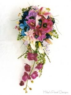 Anemone, Lily, Orchid and Calla Lily Trailing Bouquet