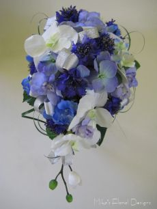 Teardrop Bouquet of Silk/Artificial Cornflower, Hydrangea, Delphinium and Orchid with Silver Ribbon