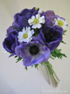 Silk/Artificial Anemone and Coreopsis Bridesmaid's Bouquet