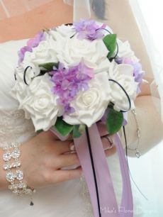 Black Satin Loops in Silk Rose and Hydrangea Round Bouquet