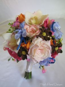 Blue Satin Ribbon Loops in Mixed Flowers Round Bouquet